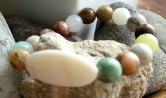 Fits all wrists Earth tone color Beads Cream Shell center Stone