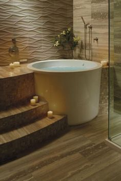 Japanese bath Japanese Soaking Tub: Add the Exotic to Your Bathroom - Ann Frances Jaworski - Japanese Style Bathroom, Japanese Bathtub, Japanese Soaking Tubs, Deep Tub, Deep Soaking Tub, Soaking Bathtubs, Villa Interior, Bathroom Interior Design, Tub Shower Combo