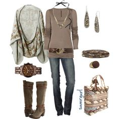 Love these earth tones!  Cute Outfit