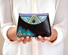 Leather Pouch Hand Painted Leather Wallet by BarbaLeatherWorks