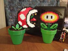 perler mario pipe plant and flower