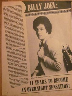 Billy Joel Full Page Vintage Clipping 1970s Music, Billy Joel, Vintage Clip
