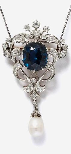 Edwardian blue spinel and diamond pendant/brooch