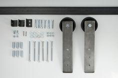 black barn door hardware track and wheel