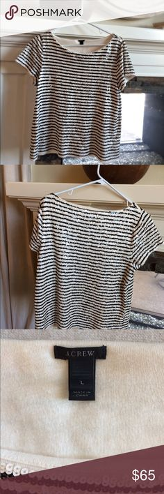 Sold Out! Jcrew Sequin Black And White Striped Tee Love this top! It adds such a pretty sparkle to my closet. In perfect and I mean perfect condition!! I haven't worn it for ages so I felt it would be best to share its beauty. xoxo Asch J. Crew Tops Blouses