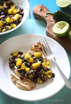 Grilled chicken breast, seasoned with cumin and spices and topped with a fresh salsa made with sweet mango, protein-rich black beans and lots of lime and cilantro for flavor.