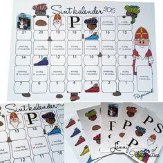 Sinterklaas aftelkalender / schoenkalender voor Sinterklaas 2015. Inclusief 37 stickers! De kinderen kunnen elke dag een sticker plakken. Mama en papa kunnen de schoenstickers plakken wanneer het schoenzetten is. Door Jenny Illustraties.