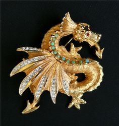 Magnificent-H-M-Schrager-Co-Jeweled-Dragon-Brooch