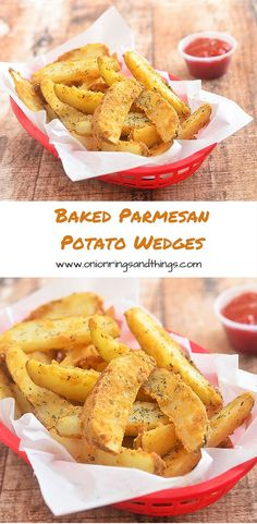Baked Parmesan Potato Wedges are golden, crisp and loaded with delicious Parmesan and garlic flavors yet baked for a less-guilt snacking! Parmesan Potato Wedges, Parmesan Potatoes, Garlic Parmesan, Parmesan Pasta, Baked Garlic, Best Side Dishes, Side Dish Recipes, Main Dishes, Potato Dishes