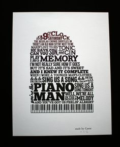 Piano Man letterpress typographic broadside 11x14 by TopiaryPress