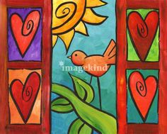 whimsical valentine art | Whimsical Bird in Window Art Prints by Stacey Bonham - Shop Canvas and ...