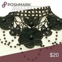 Black choker w/ black pearls Black choker w/ black pearls Jewelry Necklaces