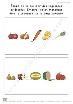 Dans les fiches de travail « Objet manquante. 5 objets » l'élève doit retenir la séquence sur la première page pour pouvoir identifier l'objet manquant sur la seconde page.