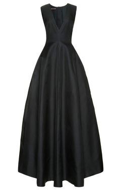 Silk-Gazar V-Neck Gown by Rochas Now Available on Moda Operandi