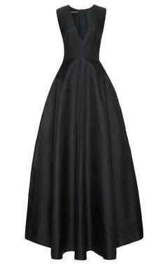 Silk-Gazar V-Neck Gown by Rochas Now Available on Moda Operandi