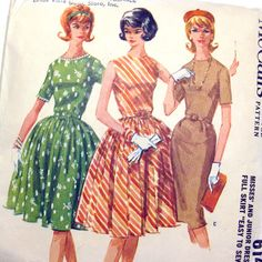 1960s Vintage Sewing  Lucy Dress Pattern McCall's by SelvedgeShop
