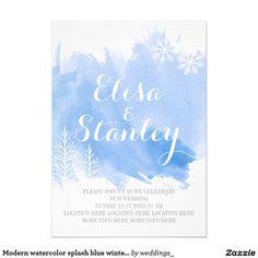 Blaue Winterhochzeit des modernen 12,7 X 17,8 Cm Einladungskarte
