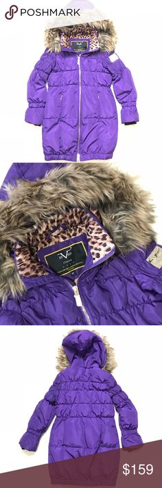 Versace 19.69 Sportivo Girls coat long Down puffer Versace 19.69 Abbigliamento Sportivo Long Quilted puffer coat Size 6x Color: Petunia (purple)  This long puffy coat will keep her nice and toasty in style! Beautiful vivid purple color with leopard print lining. Extended sleeve for hand warmers Removable plush faux fur trim on hood  No tag, but unworn! Shell and lining: 100% polyester  Filling: 10% Down, 10% pluma, 80% polyester  Machine wash warm Versace 19.69 Jackets & Coats