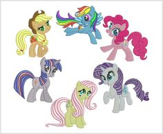 My Little Pony - Set of 6 designs for embroidery machine - hoop 5/7 - Embroidery design - Cutie marks free - hoop 4/4