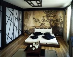 f you love the super low-slung look of a futon, then using a low platform bed with a futon on top could work for you. Beautiful in this Japanese-style bedroom with its low tea table.... Japanese bedroom, with golden accent wall.