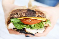 "A portobello ""bun"" to hold your favorite sandwich meats."