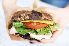 "A portobello ""bun"" to hold your favorite sandwich meats."