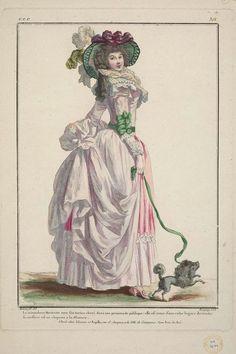 1786 La minaudiere Marinette avec son toutou cheri dans une promenade publique: elle est vetue d'une robe legere du matin: sa coeffure est un chapeau a la Zinzara.: