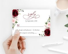 Invite friends and family in style and set the tone for your special day with this charming wedding invitation suite! #printable #wedding #reception #invitations #RSVP #details #enclosurecard #weddinginvitationsuite #weddinginvitationset #weddinginvitations #weddingstationery #SHdesigns Reception Invitations, Wedding Invitation Sets, Invitation Suite, Wedding Stationery, Burgundy And Blush Wedding, Invite Friends, Some Text, Favor Tags, Card Sizes