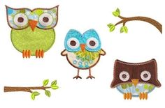 Owl Be There Applique Set, 5 Designs - 4x4