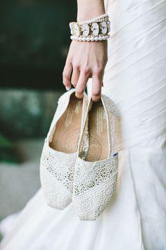 Bridal flats - Crochet TOMS | The Wedding Scoop Spotlight: Bridal Shoes - Part 2