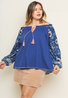 491b9fbab0214 Umgee plus size blue off shoulder floral print top w  tassels WL5343 Plus  Size Casual
