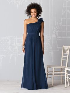 Full length one shoulder bridesmaid dress in lux chiffon fabric has matching belt, shirred bodice and pretty flower detail at shoulder. Royal Blue Bridesmaids, Royal Blue Bridesmaid Dresses, One Shoulder Bridesmaid Dresses, Bridesmaid Dress Styles, Shoulder Dress, Shoulder Strap, Dessy Bridesmaid, Lavender Bridesmaid, Bridesmaid Ideas