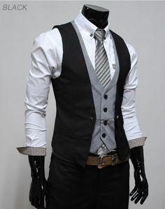 Dressy engagement photo outfit for men.    #men #mensfashion #mensstyle #fashion #style #vest