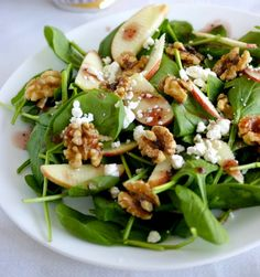 Recipe For Apple Spinach Salad with Nuts and Dates