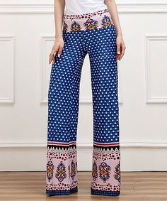 Look what I found on #zulily! Blue Flower High-Waist Palazzo Pants by Reborn Collection #zulilyfinds