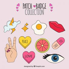 Patches set of varied hand-drawn elements Free Vector