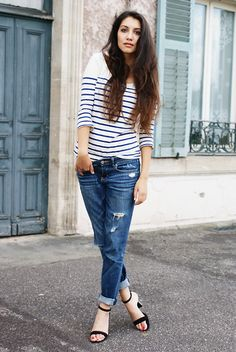 Asos Stripey Top, Abercrombie And Fitch Jeans, Zara Black Sandals