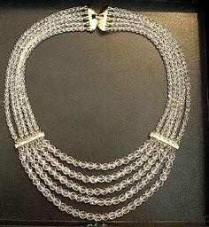 Monet Crystal Necklace Gold Tone Vintage Chandelier Choker Five Strand   PrettyJewelryThingsStore - Jewelry on ArtFire
