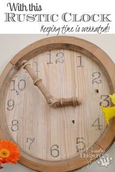 Spare parts from broken vintage wood washstand turn into a large rustic clock with spindle hands!!!  Country Design Style