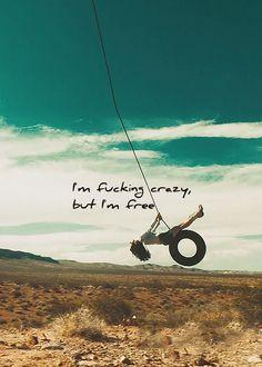 Ha! I'm fucking crazy, but I'm free!