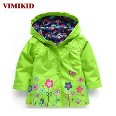 VIMIKID Hooded Girls Jacket for Girl Coat Kids Winter Outwear Coats Clothes Spring Autumn Fashion Children Raincoat Coat