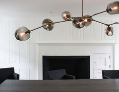 BB.08.03 in vintage brass with grey globesInterior by Yvonne Ferris InteriorsPhotos by Michele Scotto