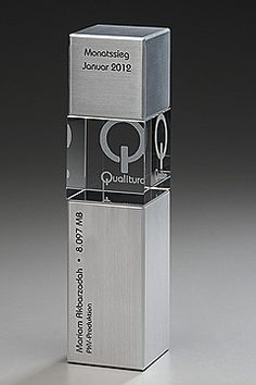 Could be cool to use full color logo behind glass. good contrast to brushed metal. Glass Trophies, Custom Trophies, Pop Display, Display Design, Trophy Plaques, Trophy Design, Outdoor Signage, Pop Design, Signage Design