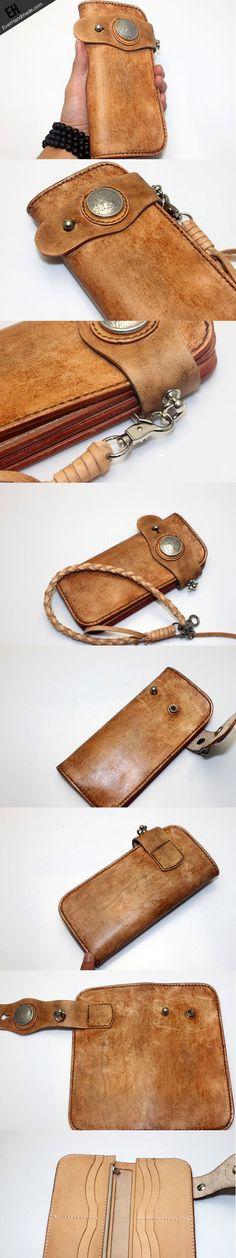 Handmade vintage men biker wallet bifold leather Long wallet purse clu | EverHandmade