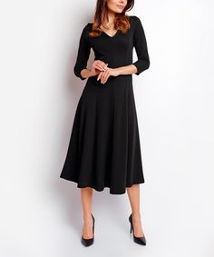 Look what I found on #zulily! Black V-Neck Midi Dress #zulilyfinds