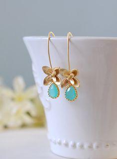 Gold Flower and Aqua Mint Blue Teardrop Glass Earrings, Gold and Blue Drop Earrings, Dangle Earrings, Crystal Earrings, Bridesmaid Gift