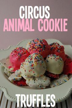 Circus Animal Cookie Truffle Balls  3c ground-up Circus Animal Cookies,1/2 can cream cheese icing, 1 pkg wte. choc almond bark, Rainbow sprinkles, Pink food color  Line rimmed baking sheet/foil. Put ground cookies into a large bowl,  add half can icing. Mix crumbs & frosting. Make inch-sized balls & place on sheet. Freeze until completely frozen. Add  pink coloring to half of icing. Dip truffles into wte choc, & other half in pink choc. While still wet, sprinkle, Place in fridge till set.