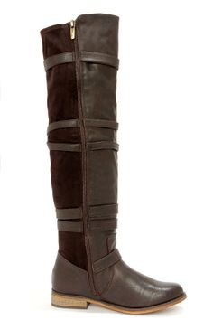 Wanted Bayon Brown Buckled Over the Knee Riding Boots at LuLus.com!