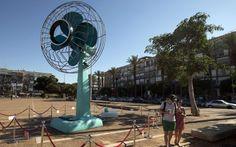 cartoon of a giant fan | Ventilator, Giant Working Table Fan Sculpture by Tal Tenne Czaczkes