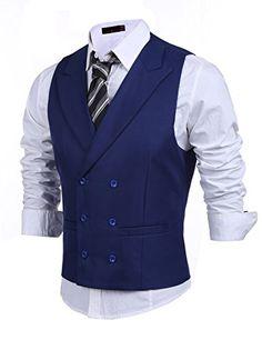 Jinidu Men's Double Breasted Classic Formal Waistcoat Slim Suit Vest
